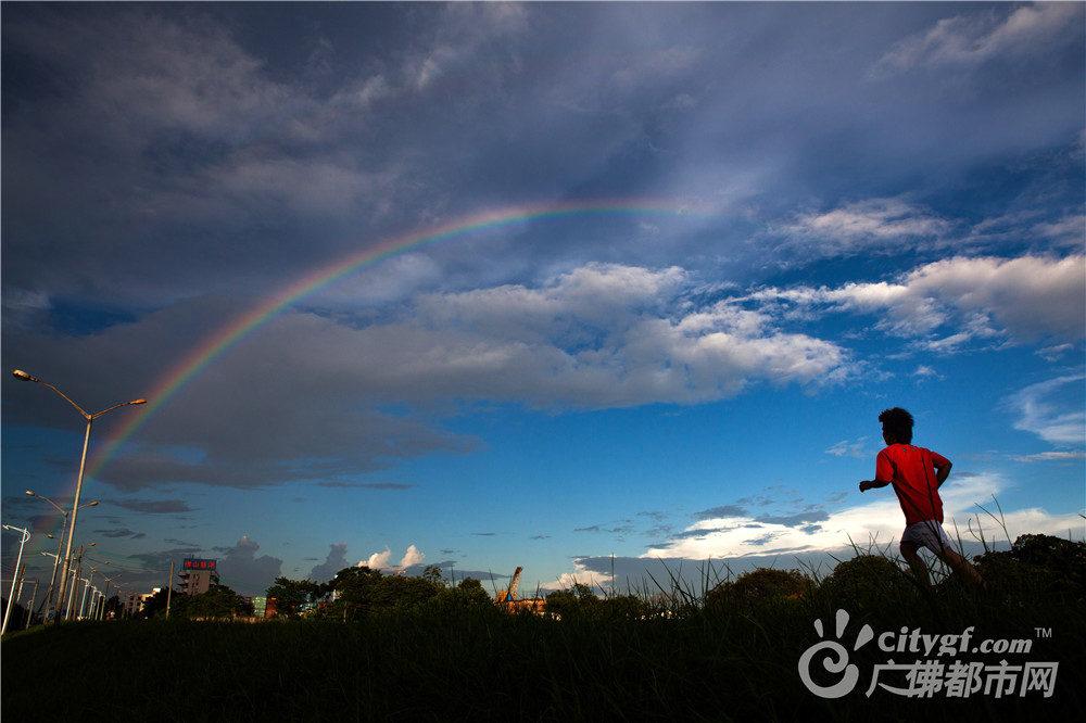 雨后,东平河堤彩虹挂天边。作者:龙上淳